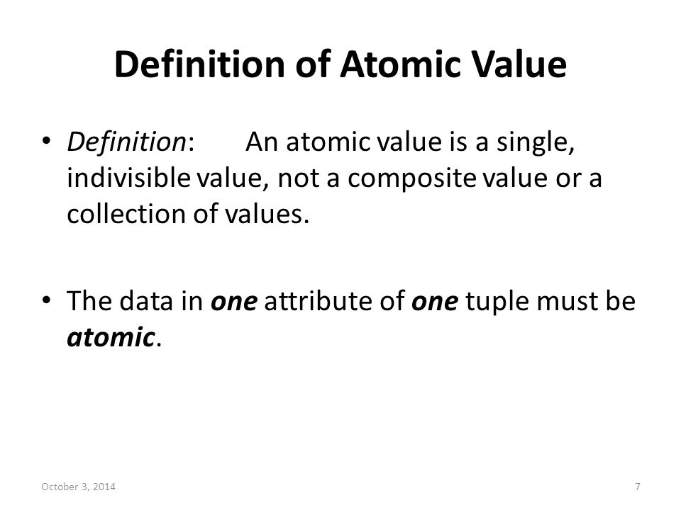 Definition of Atomic Value