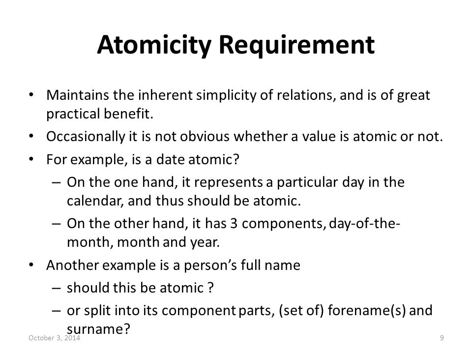 Atomicity Requirement