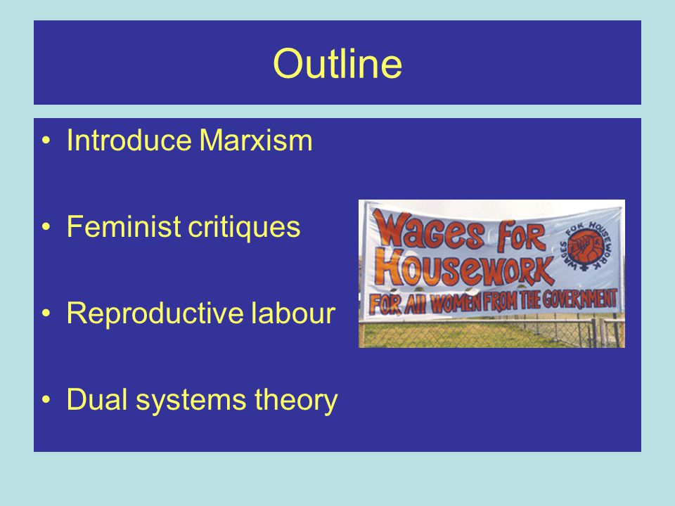 Outline Introduce Marxism Feminist critiques Reproductive labour