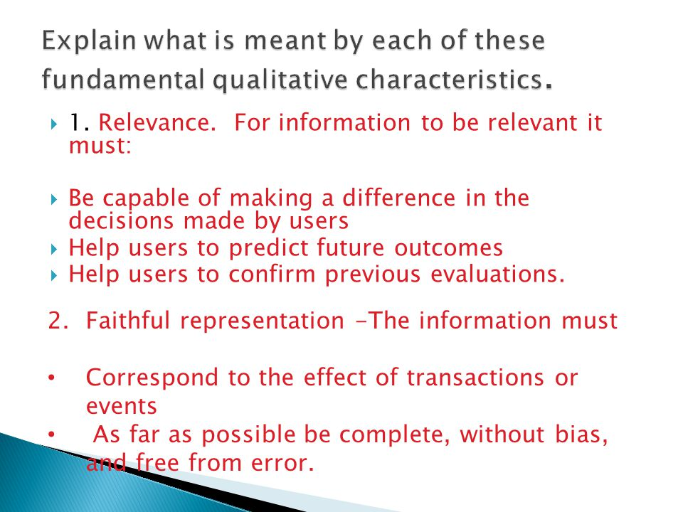 Explain what is meant by each of these fundamental qualitative characteristics.