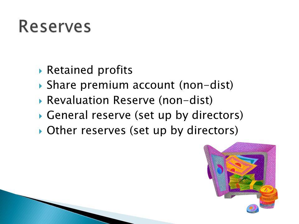 Reserves Retained profits Share premium account (non-dist)
