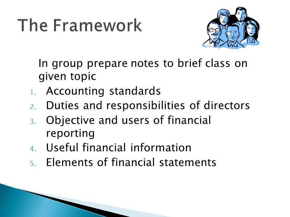 The Framework In group prepare notes to brief class on given topic