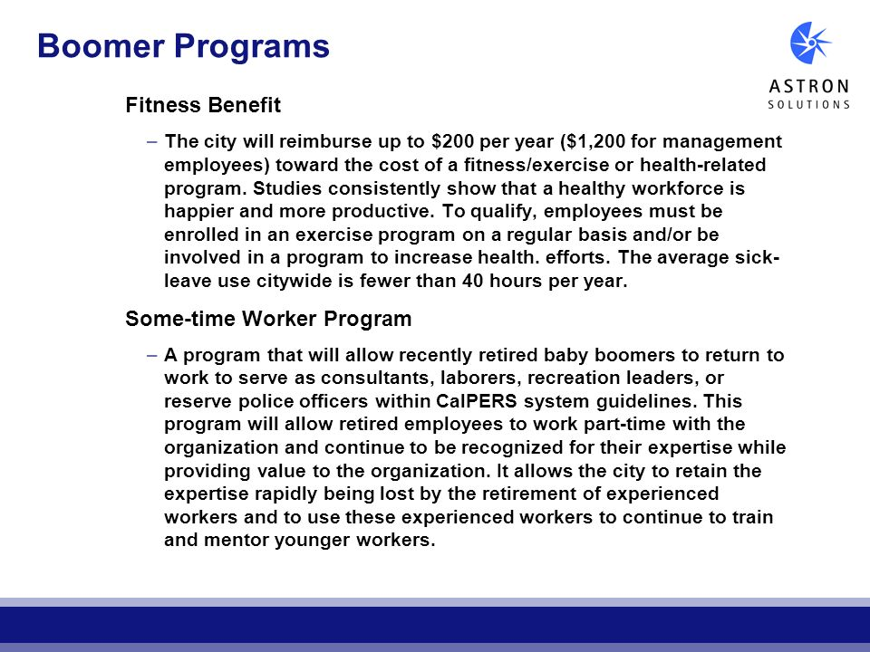 Boomer Programs Fitness Benefit Some-time Worker Program