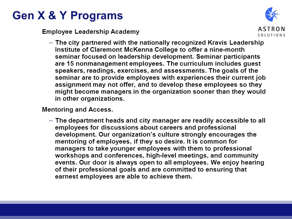 Gen X & Y Programs Employee Leadership Academy