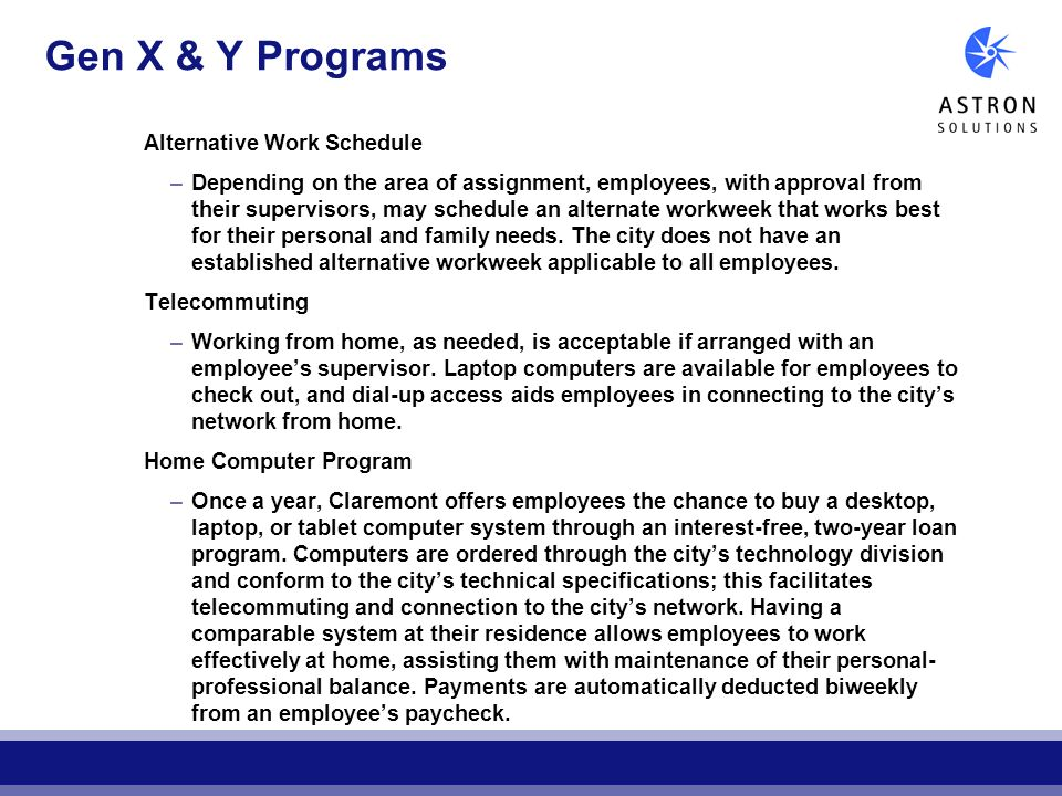 Gen X & Y Programs Alternative Work Schedule