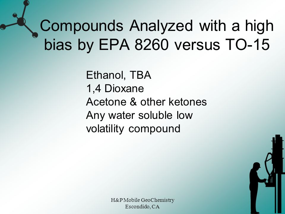 Compounds Analyzed with a high bias by EPA 8260 versus TO-15