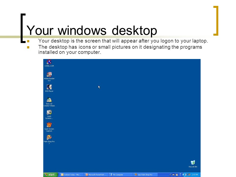 Your windows desktop Your desktop is the screen that will appear after you logon to your laptop.