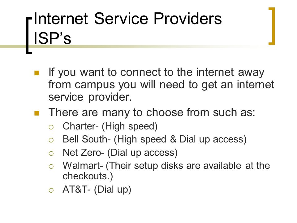 Internet Service Providers ISP's