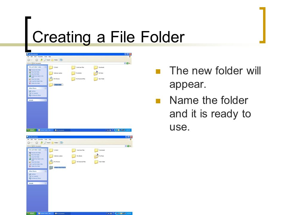 Creating a File Folder The new folder will appear.