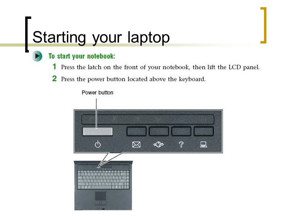 Starting your laptop