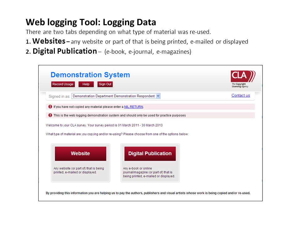 Web logging Tool: Logging Data There are two tabs depending on what type of material was re-used.