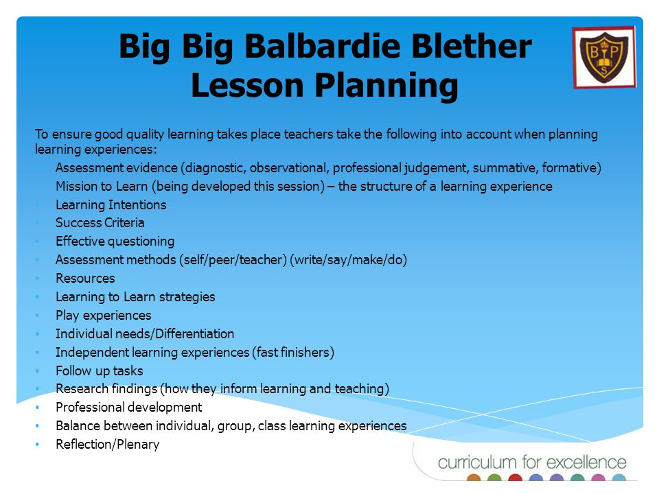 Big Big Balbardie Blether Lesson Planning