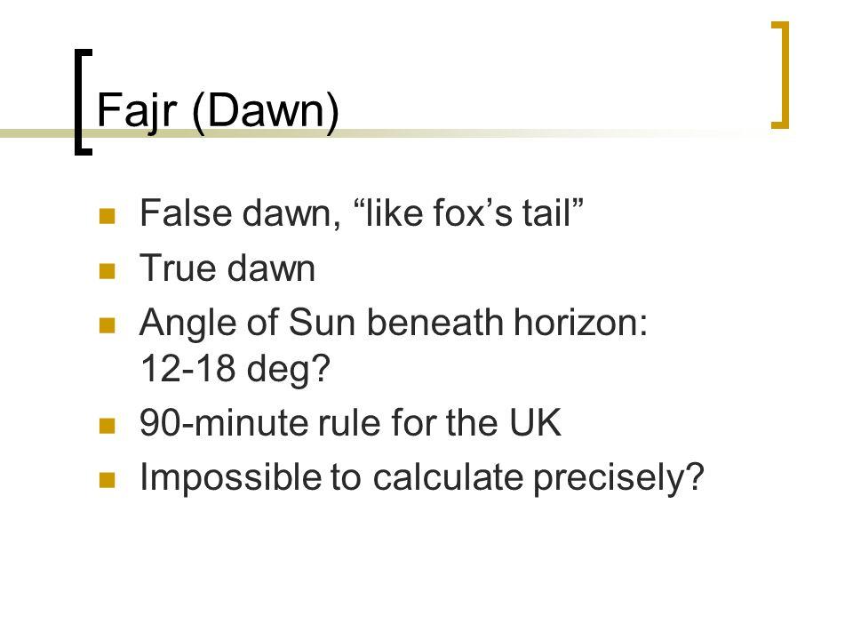 Fajr (Dawn) False dawn, like fox's tail True dawn
