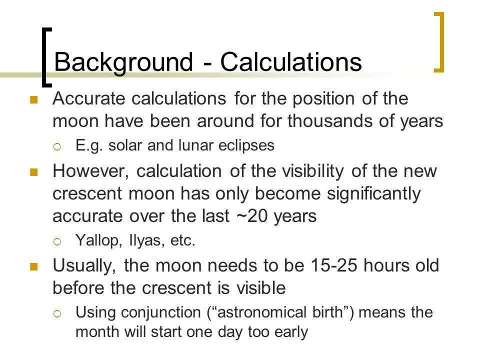 Background - Calculations