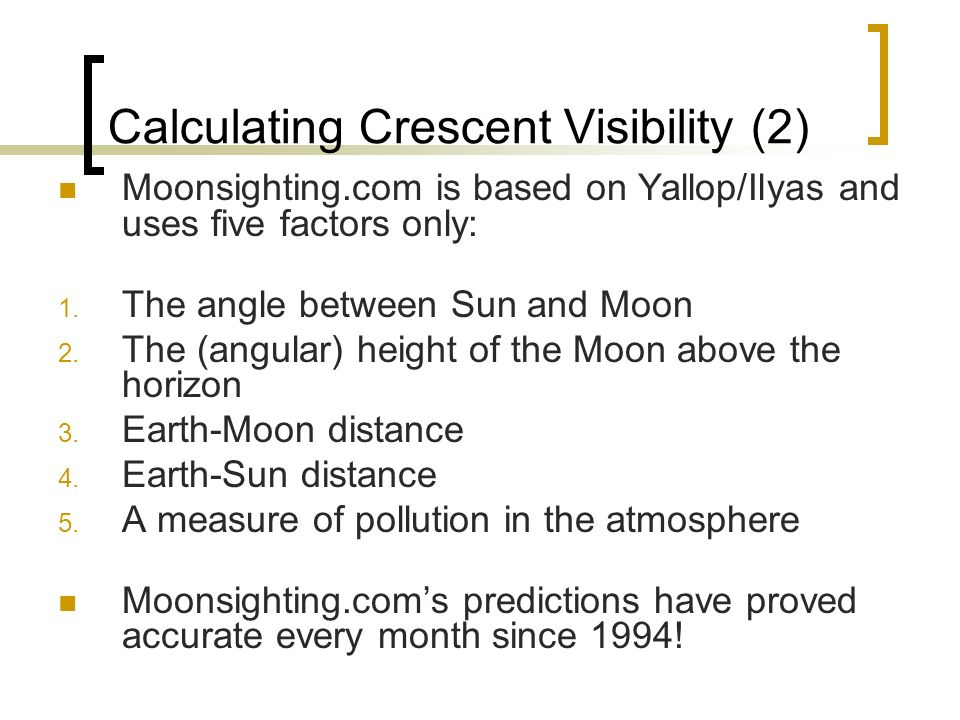 Calculating Crescent Visibility (2)