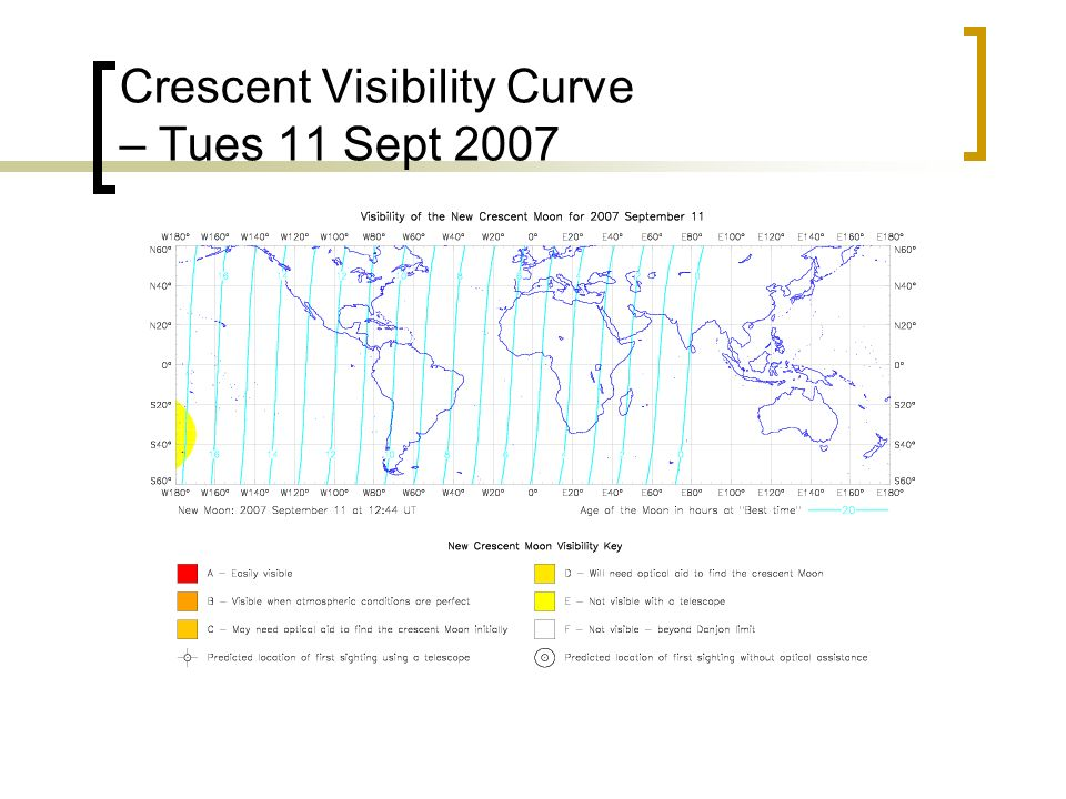 Crescent Visibility Curve – Tues 11 Sept 2007