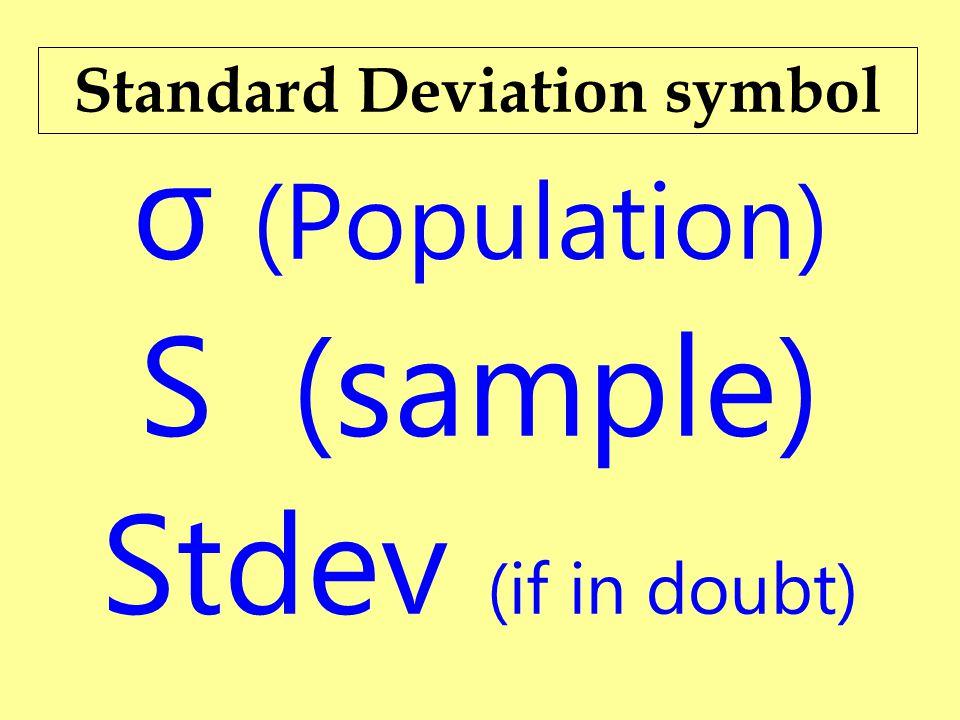 Population Standard Deviation Symbol