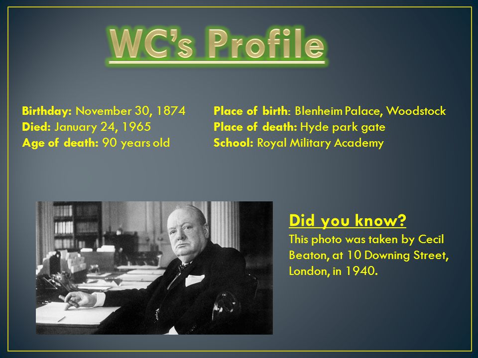 WC's Profile Did you know Birthday: November 30, 1874
