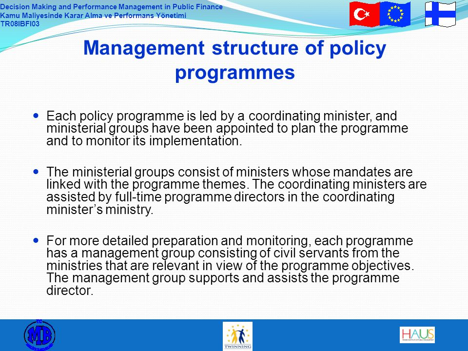 Management structure of policy programmes