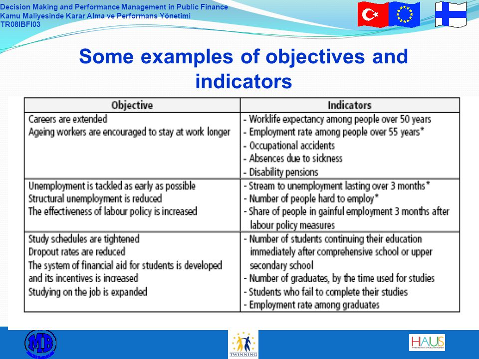 Some examples of objectives and indicators