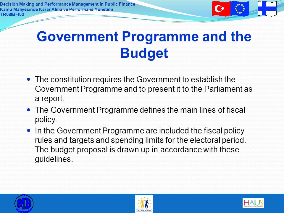 Government Programme and the Budget