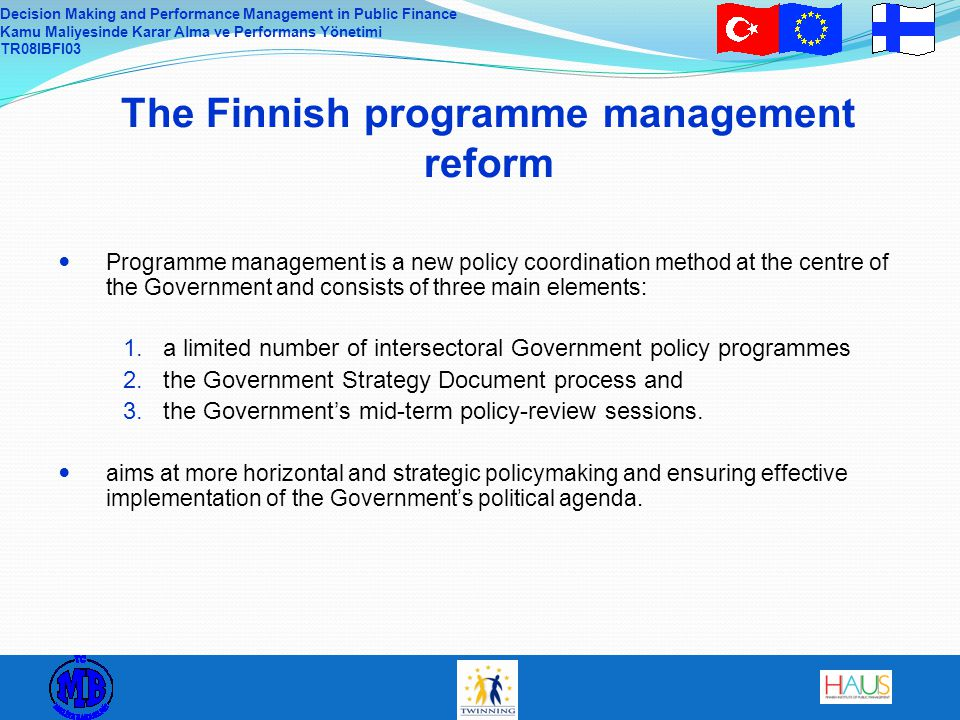 The Finnish programme management reform