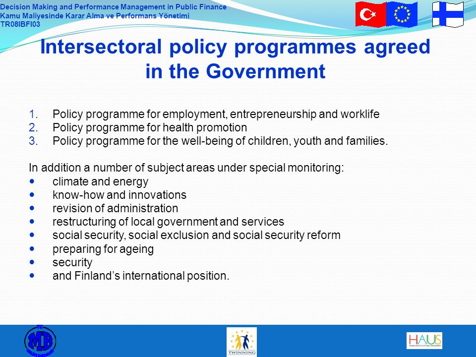 Intersectoral policy programmes agreed in the Government