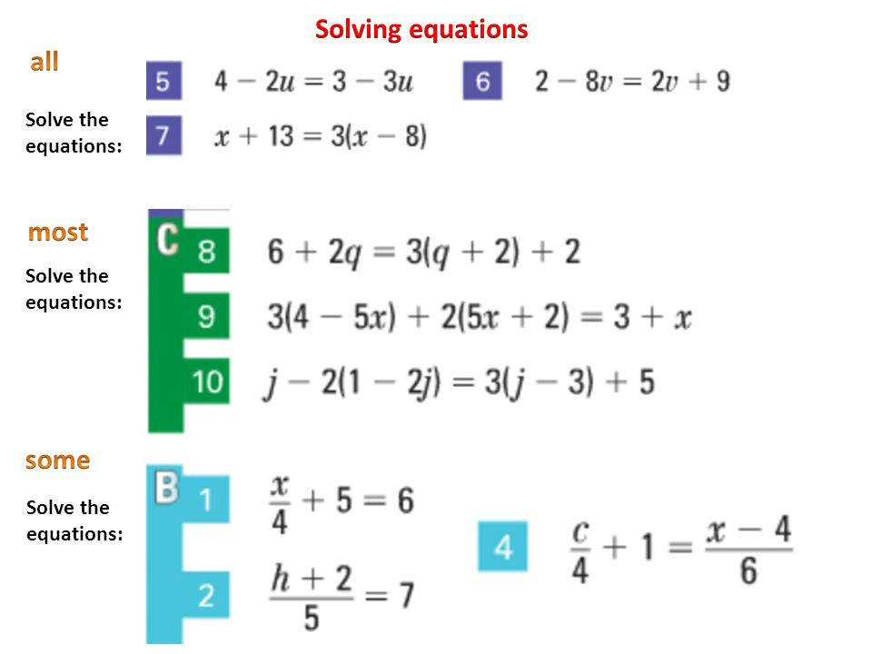 Solving equations all most some