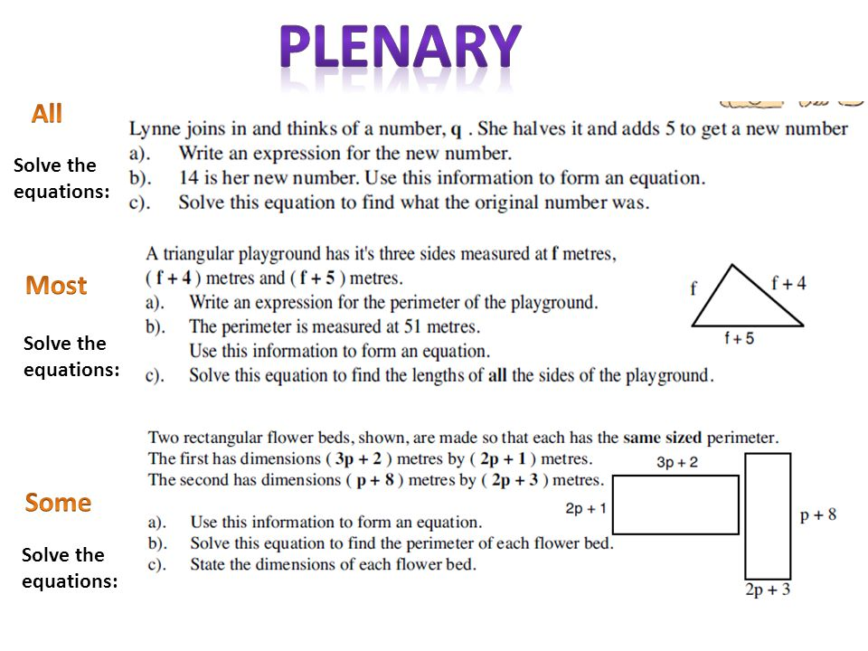 Plenary All Most Some Solve the equations: Solve the equations: