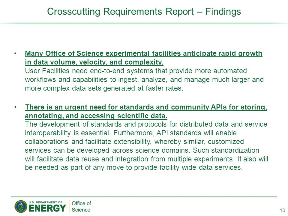 Crosscutting Requirements Report – Findings