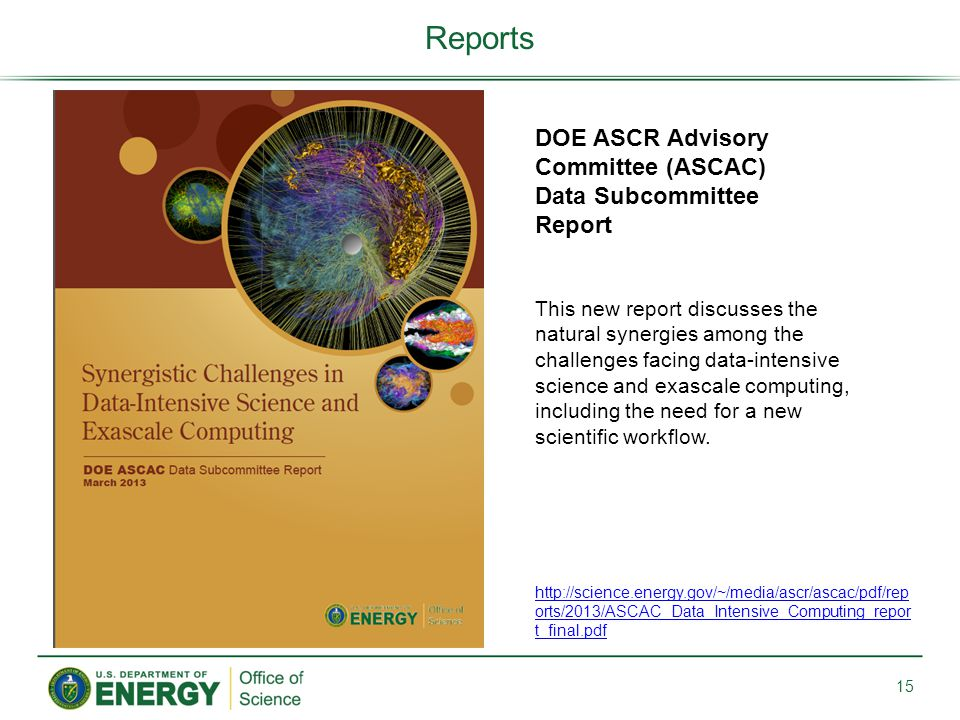 Reports DOE ASCR Advisory Committee (ASCAC) Data Subcommittee Report