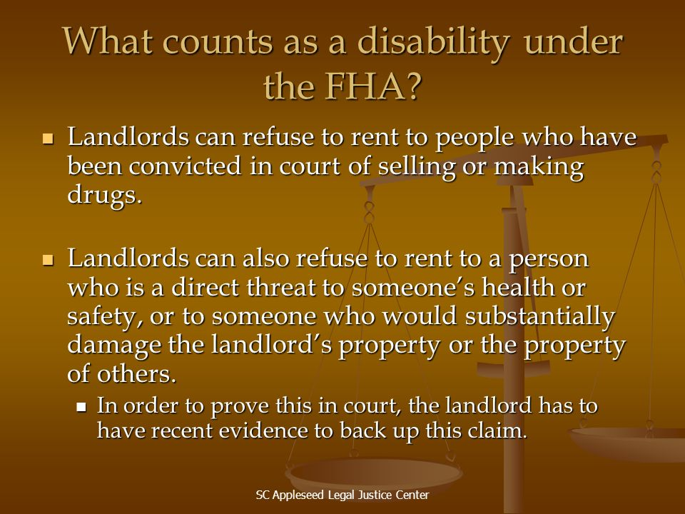 What counts as a disability under the FHA