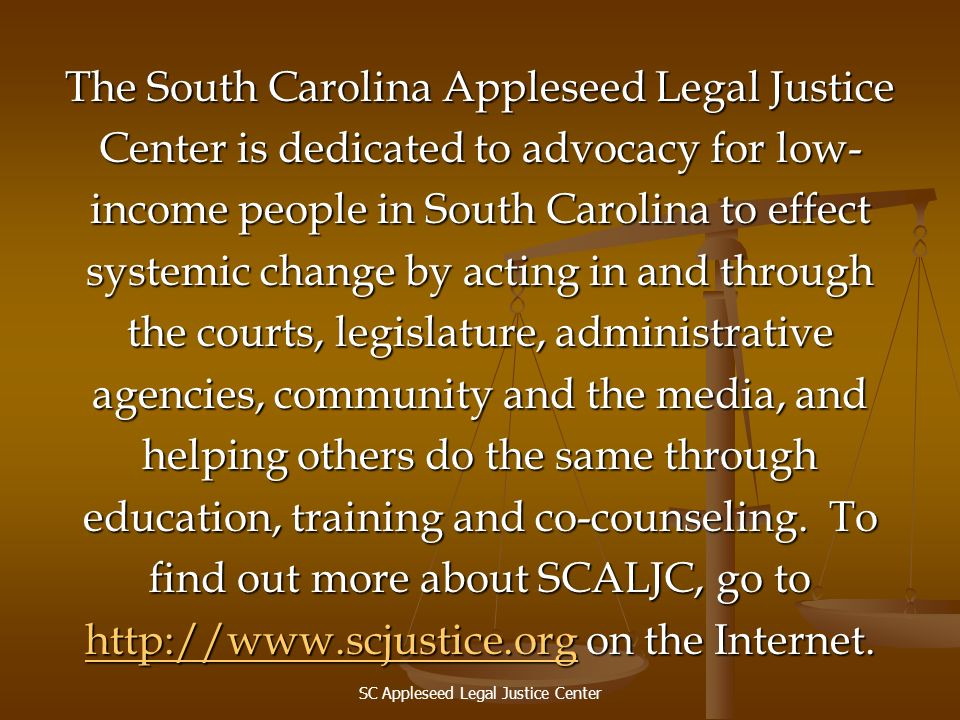 The South Carolina Appleseed Legal Justice