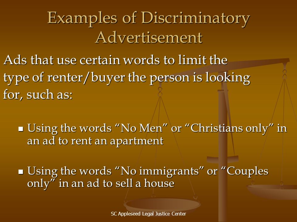 Examples of Discriminatory Advertisement