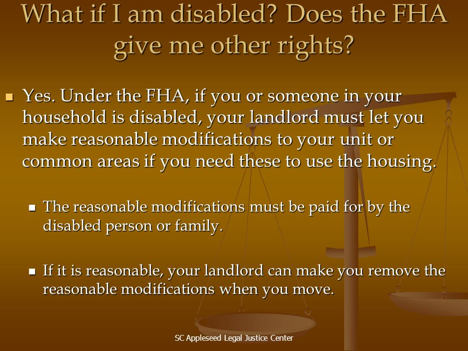 What if I am disabled Does the FHA give me other rights