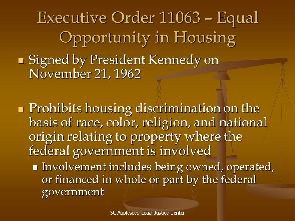 Executive Order 11063 – Equal Opportunity in Housing