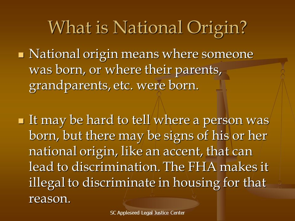 What is National Origin