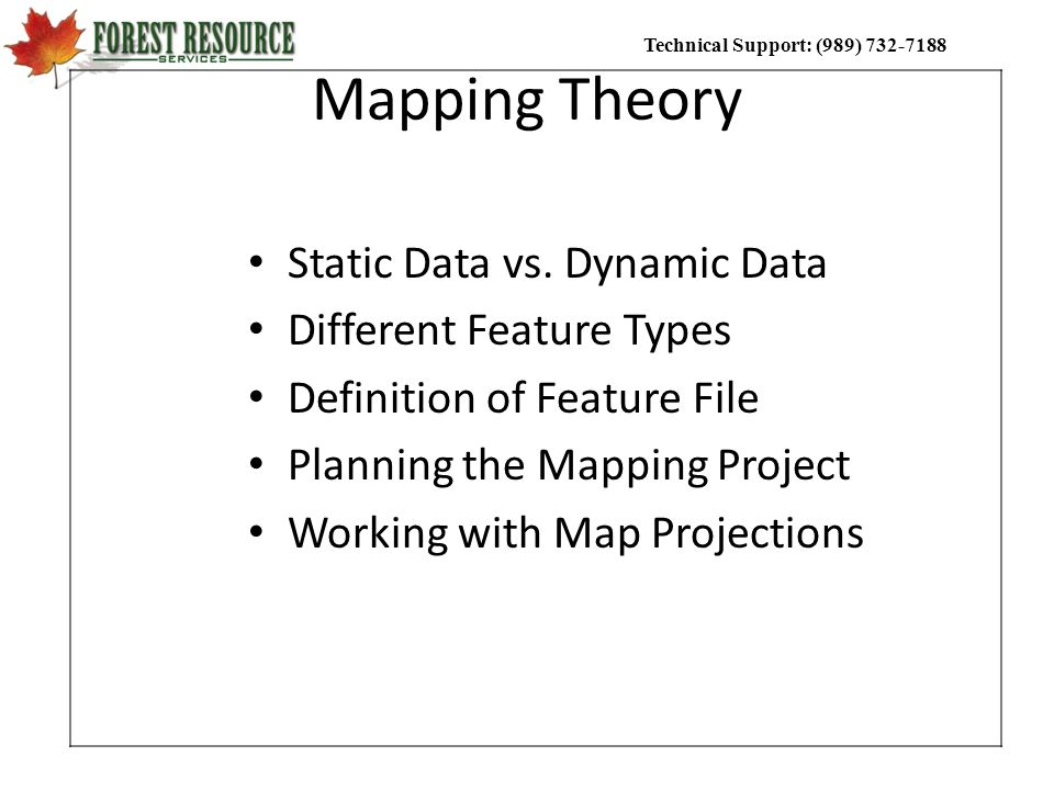 Mapping Theory Static Data vs. Dynamic Data Different Feature Types