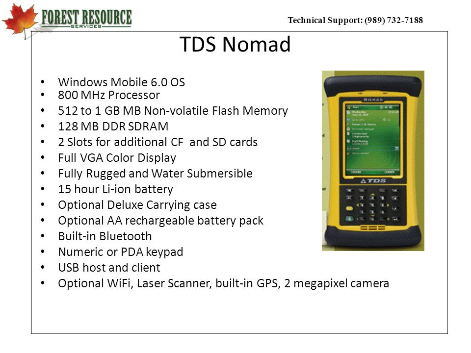 TDS Nomad Windows Mobile 6.0 OS 800 MHz Processor