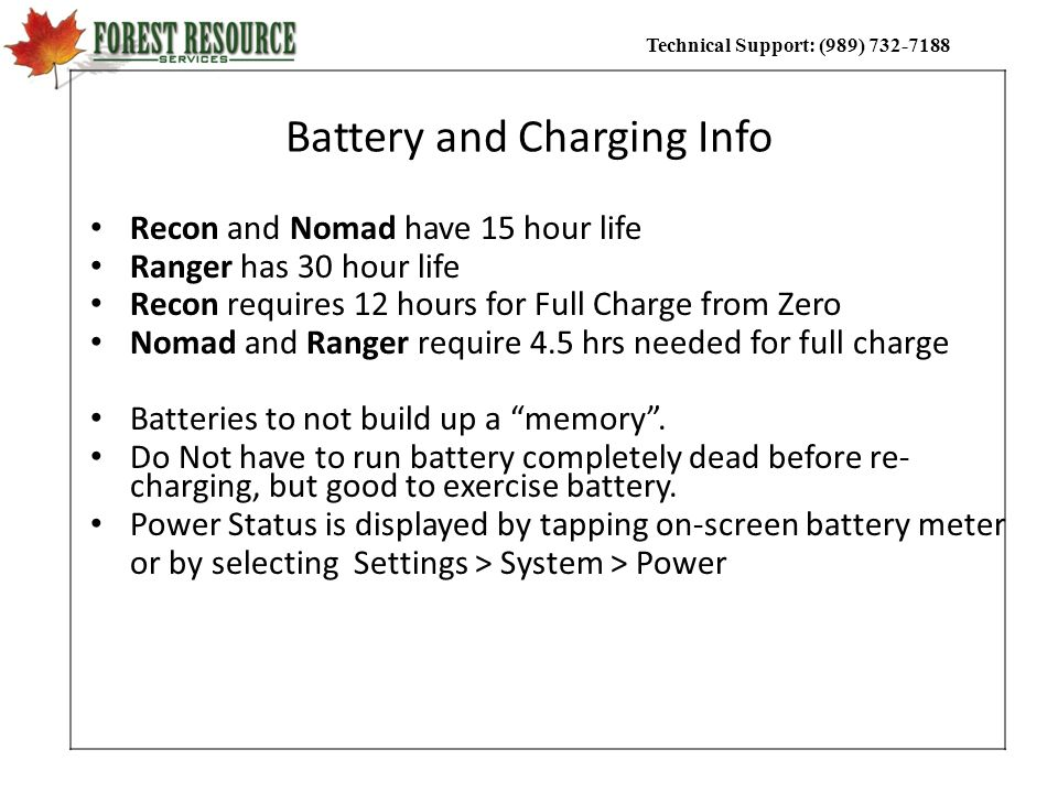 Battery and Charging Info