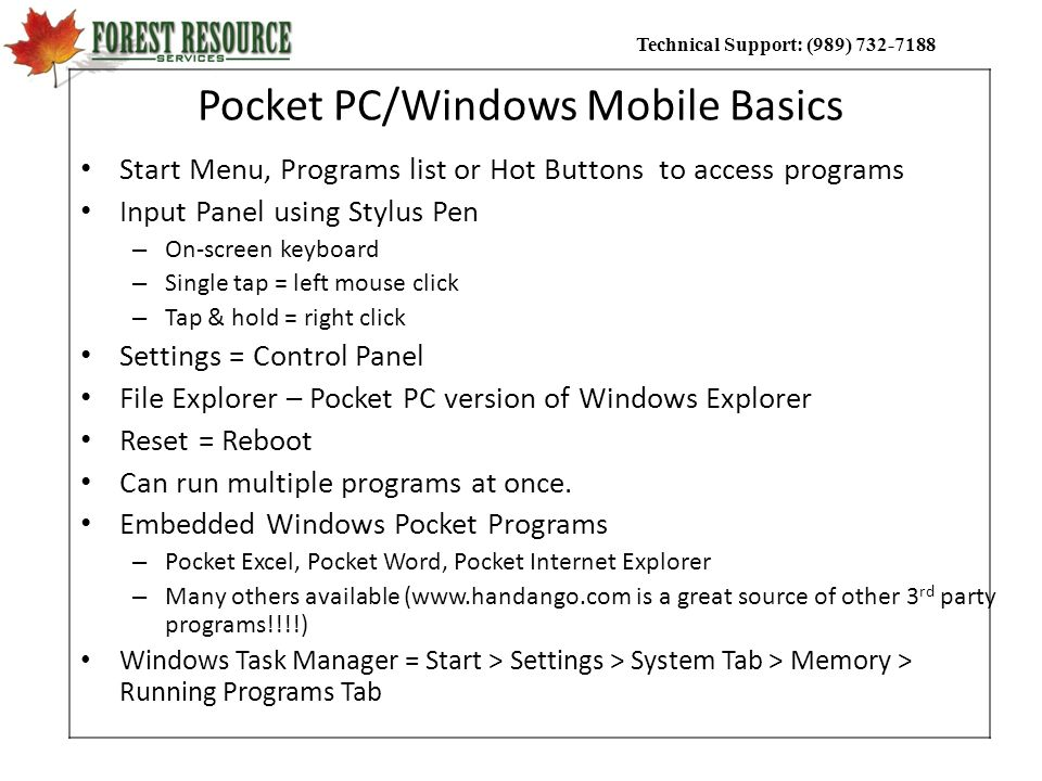 Pocket PC/Windows Mobile Basics