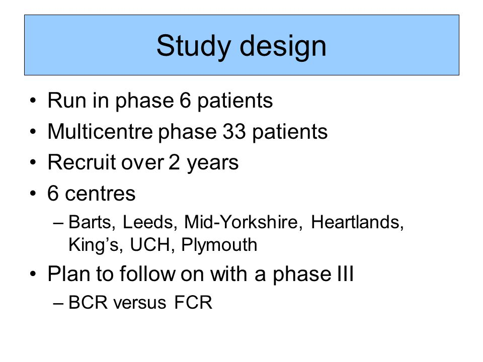 Study design Run in phase 6 patients Multicentre phase 33 patients