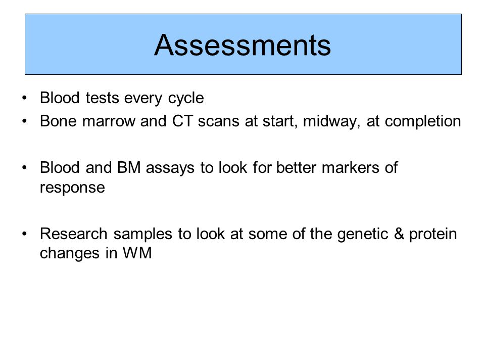 Assessments Blood tests every cycle