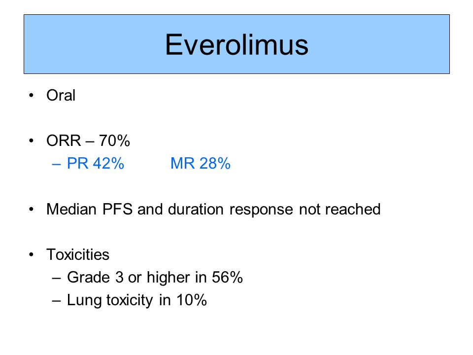 Everolimus Oral ORR – 70% PR 42% MR 28%