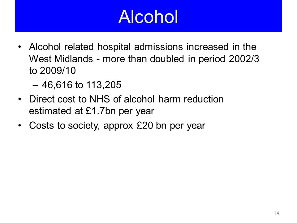 Alcohol Alcohol related hospital admissions increased in the West Midlands - more than doubled in period 2002/3 to 2009/10.