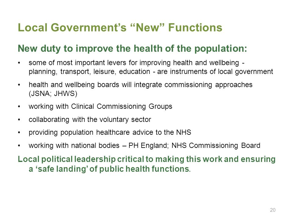 Local Government's New Functions