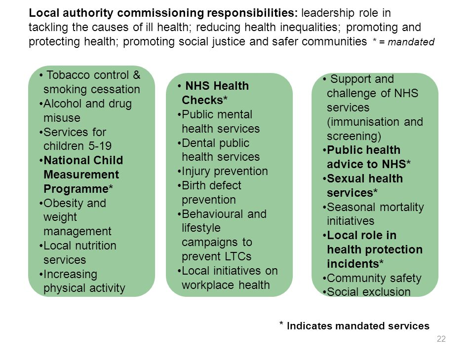 Local authority commissioning responsibilities: leadership role in