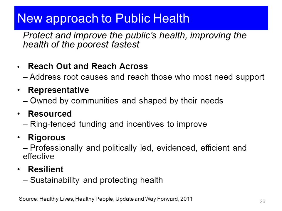 New approach to Public Health