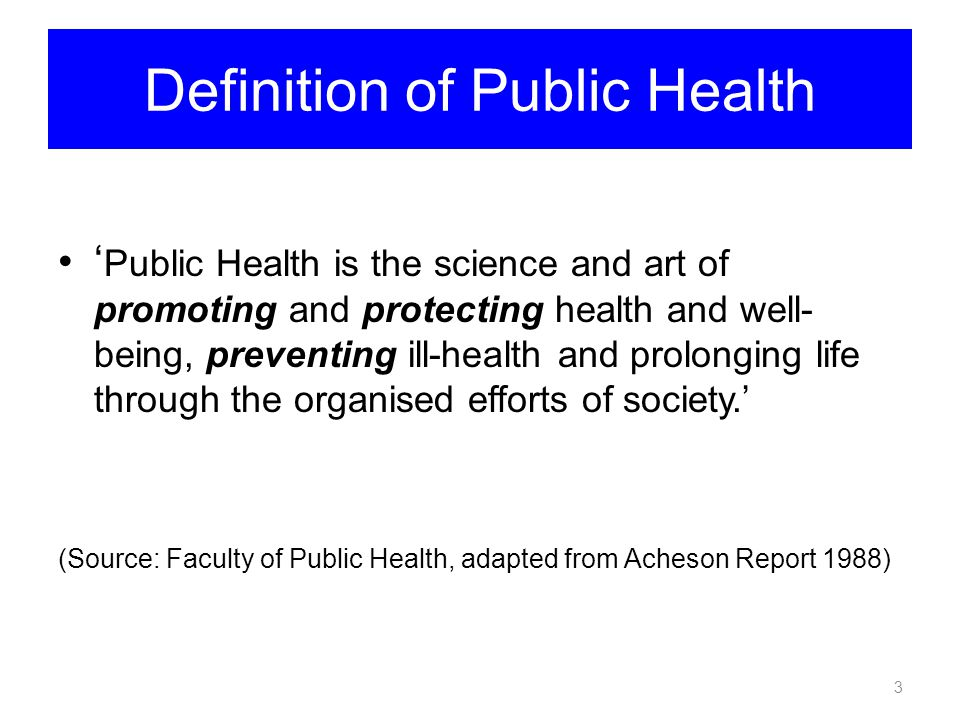 Definition of Public Health