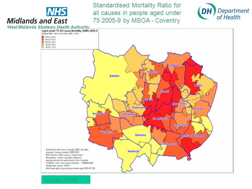 Standardised Mortality Ratio for all causes in people aged under 75 2005-9 by MSOA - Coventry